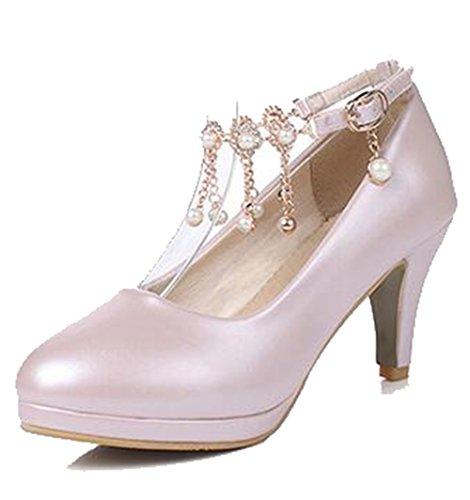 Easemax Femmes Strass Doux Chaînes Cheville Boucle Sangle Bout Rond Mi Chunky Talon Pompes Chaussures Rose