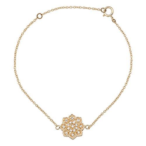 Instagems 10k Yellow Gold Floral Style Diamond Pendant Bracelet