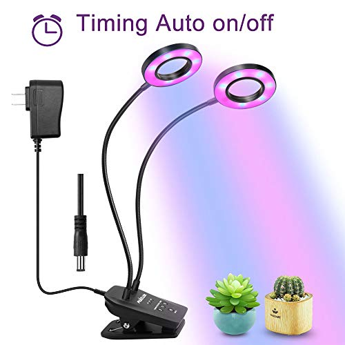Grow Light Lamp with Timing Auto Work and Dimming Function,Muizlux Dual Head 40LED Grow Lamp Bulbs Adjustable Gooseneck for Indoor Plants Hydroponics Greenhouse Gardening [2018 Upgraded]