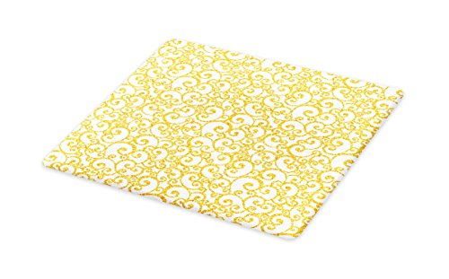 Ambesonne Victorian Cutting Board, Floral Ivy Swirls in Golden Yellow Shade Antique Motif Inspired Art Print, Decorative Tempered Glass Cutting and Serving Board, Large Size, Yellow and White by Ambesonne