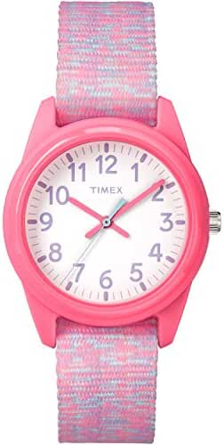 Timex Girls TW7C12300 Time Machines Analog Resin Pink/White Sport Elastic Fabric Strap Watch