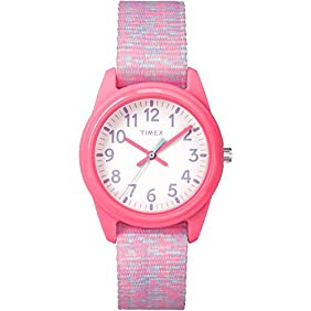 Timex Girls TW7C12300 Time Machines Analog Resin Pink/White Sport Elastic Fabric Strap Watch