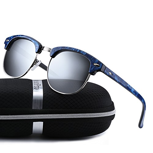 Clubmaster Sunglasses for Men Women - wearpro Retro Semi-Rimless Polarized Sun Glasses WP1006 (silver/blue) by wearpro