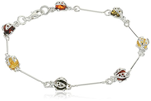 (Amber Sterling Silver Ladybug Bracelet)