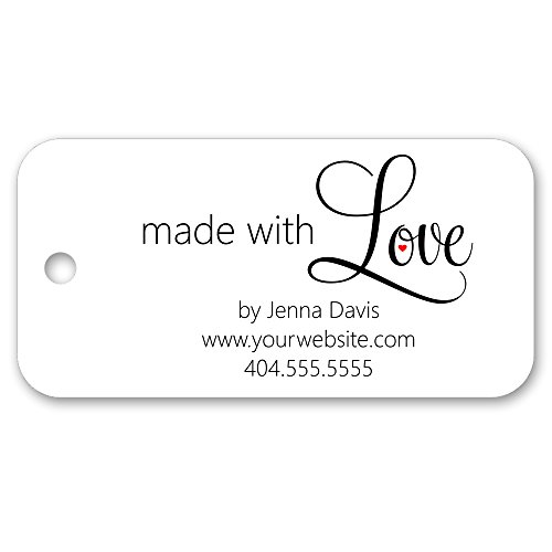 Made with Love Custom Personalized Tags - for gifts, favors, crafts, business, or handmade products 3'' x 1.5'' - 30ct by PrettySweetParty