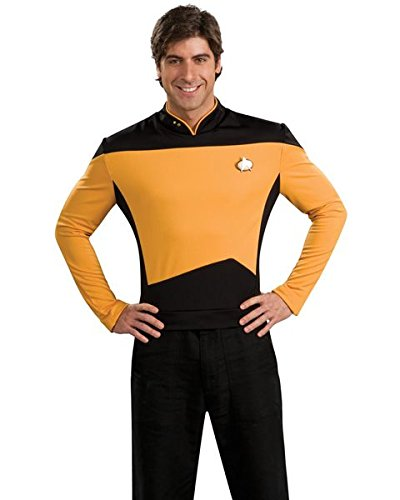 Deluxe Star Trek The Next Generation Uniform Adult Costume Gold Shirt Starfleet Command - (90s Tv Halloween Costumes)