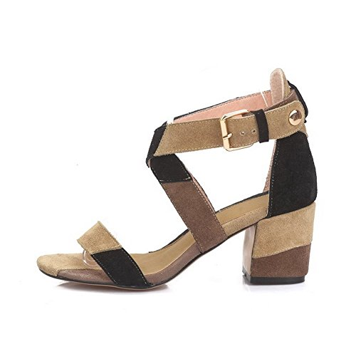 Frosted Buckle AllhqFashion Open Assorted Brown Kitten Women's Sandals Color Toe Heels THHwgtZ8xq