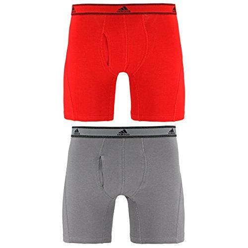 adidas Men's Relaxed Performance Stretch Cotton Boxer Brief Underwear , Scarlet/Light Onyx, Medium