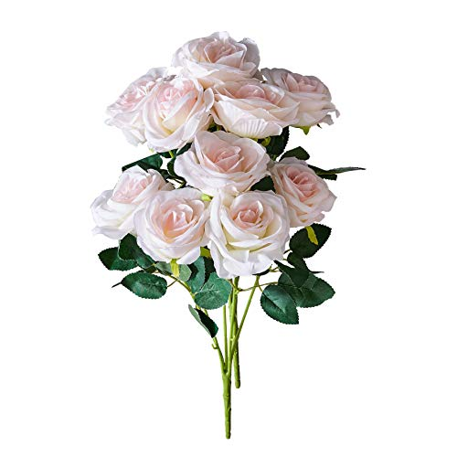 - Kislohum Artificial Flowers Roses White with Pink Fake Silk Roses for Home Decor DIY Wedding Bridal Bouquets Centerpieces Arrangements Baby Shower Flower Decoration-2 Bunches