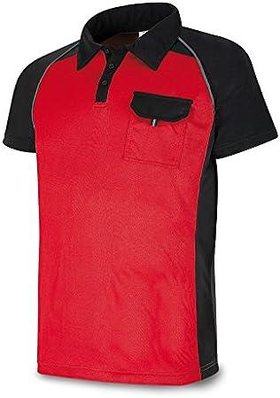 Marca 1288-POLRN L - Polo Manga Corta Rojo Negro L: Amazon.es ...