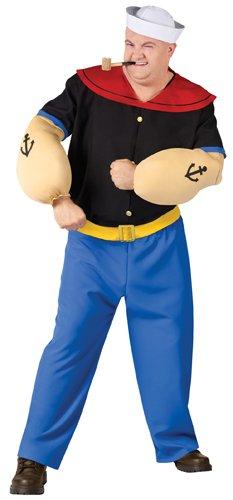 FunWorld Men's Popeye Costume-Plus, Blue, One (Popeye Muscles Costume)