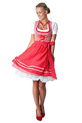 Ludwig und Therese Damen Trachten Dirndl-Set Rosalie mini rot/weiss 3-tlg 12215 36