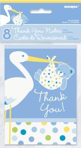 Blue Stork Boy Baby Shower Thank You Note Cards, 8ct (Baby Boy Stork Shower)