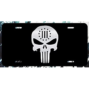 """Punisher Skull American Flag License Plate Tag Vanity Front Aluminum 6/"""" By 12/"""""""