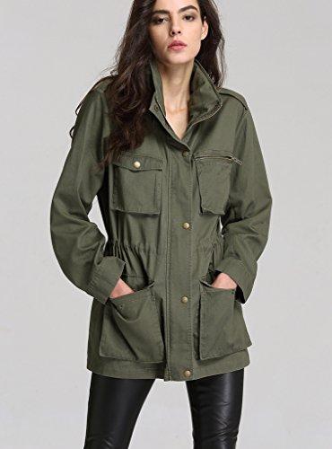 Capuche Armée Avec Vestes Simple Longues Casual Manteaux Veste Femmes Manches Verte Escalier Boutonnage Coat 6gFqYw