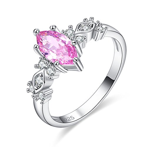 Veunora 925 Sterling Silver Created 5x10mm Marquise Cut Pink Topaz Filled Promise Ring for Women Size 8