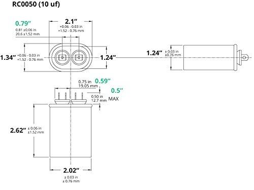 TEMCo 25 LOT Motor Run Capacitor RC0072-10 mfd uf 370/440 V VAC volt 10 uf Oval HVAC TEMCo AC Electric by Temco (Image #2)