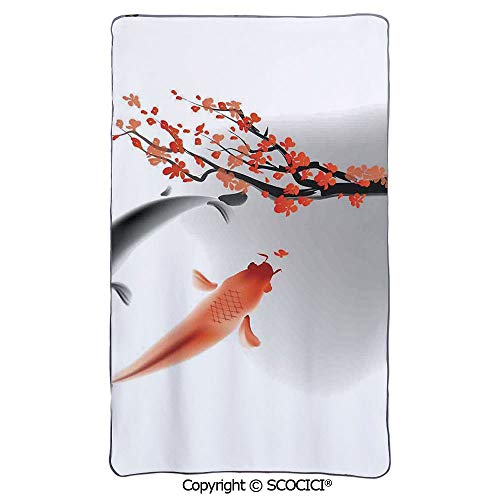 SCOCICI Lightweight Air Conditioning Blanket/Koi Carps Couple Swimming with Cherry Blossom Saku/Soft Warm Cozy Toddler,Infant or Newborn Receiving Blanket for Crib,Stroller, Travel,Decorative (Koi Stroller)