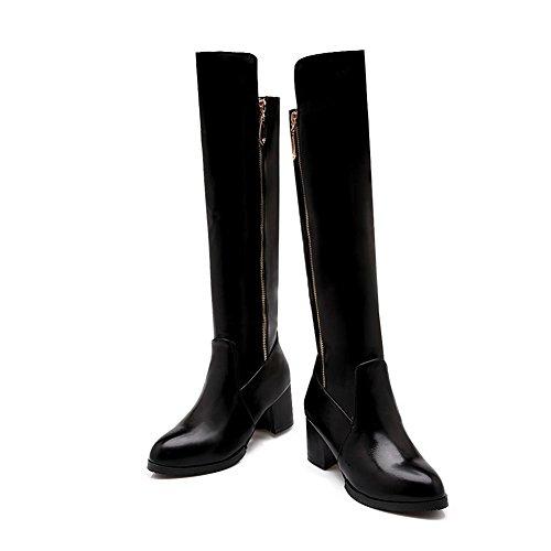 Ladies Imitated Heels Heels Black Chunky AdeeSu Kitten Zipper Boots Leather RqwHR1d