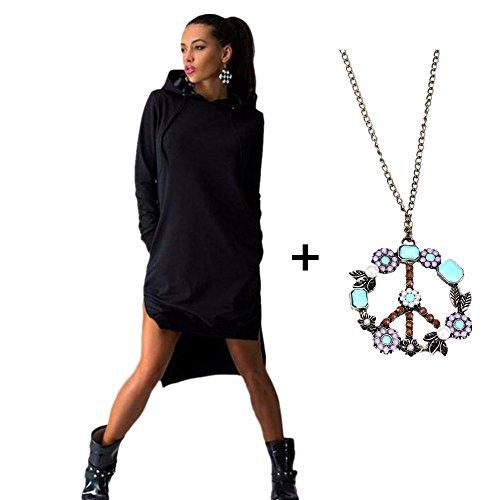 OVERMAL Women Shirt Dress Double Split Hoodie Pullover Pockets Top (Asia L=US8=UK12=EU38, Black) (Hood Dress)