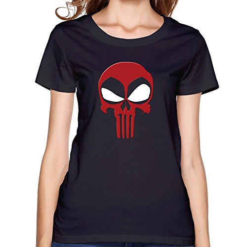 Women Comics Deadpool Big Ghost Skull Face T Shirts Short Sleeve ()