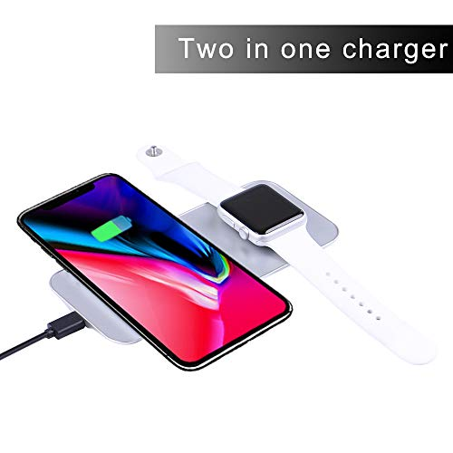 Ruishion Phone and iWatch Fast Wireless Charger Compatible with iWatch Series 3/2/1 iPhone Watch Wireless Charger Applicable to iPhone Xs XR Max Applicable to Galaxy S8/Note8(AC Adapter Included)