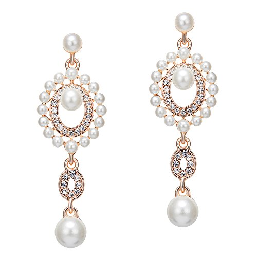 - BABEYOND 1920s Vintage Wedding Pearl Dangle Drop Earrings Art Deco Gatsby Earrings (Style 6-Rose Gold)