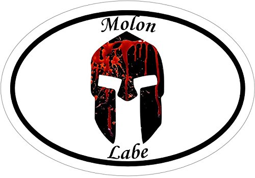 Bloody SPARTAN HELMET with MOLON LABE Vinyl Decal Sticker - Great for Truck Car Bumper or Tumbler - Perfect Handgun Gun Rights 2nd Amendment Supporter Gift - Made in the USA