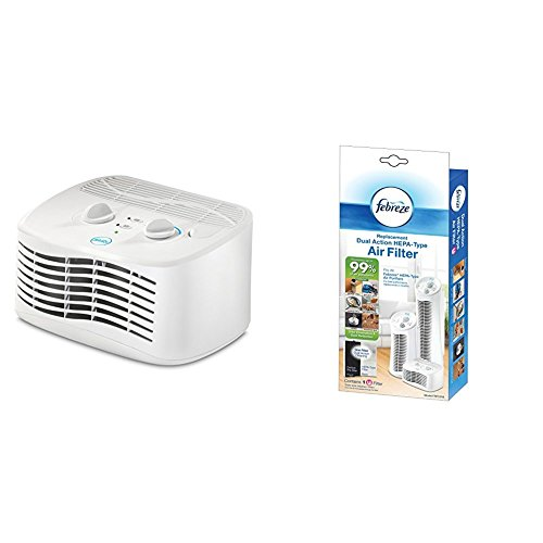 Febreze FHT170W HEPA-Type Tabletop Air Purifier with Replacement Dual Action Filter, 1-Pack