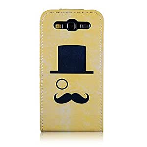 DUR Gentry and Cap and Mustache Pattern PU Leather Full Body Case for Samsung Galaxy S3 I9300