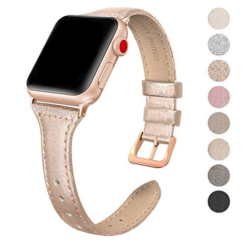 SWEES Leather Band Compatible Apple Watch iWatch 42mm 44mm, Slim Thin Dressy Elegant Genuine Leather Strap Compatible iWatch Series 4 Series 3 Series 2 Series 1 Sport Edition Women, Rose Gold