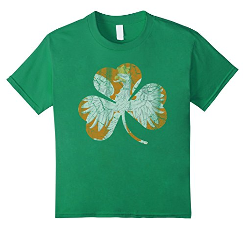 Irish Polish (Kids Vintage Irish Polish Eagle Shamrock Green Shirt 8 Kelly)