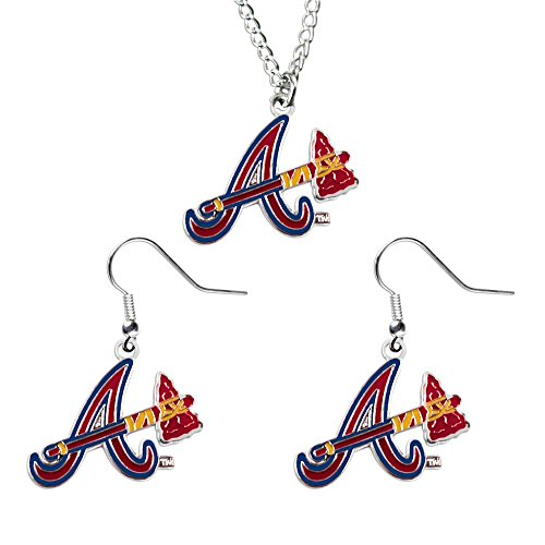 Atlanta Braves Logo Crystal - Atlanta Braves NCAA Necklace And Dangle Earring Set Charm