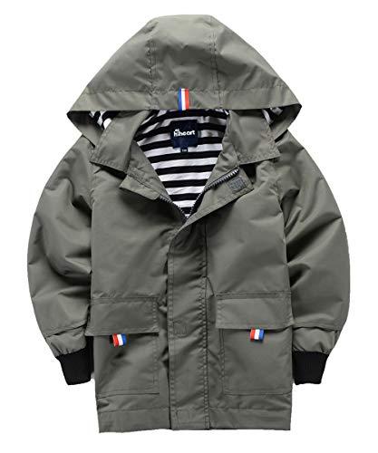Hiheart Boys Waterproof Hooded Jackets Cotton Lined Rain Jackets Gray 4T