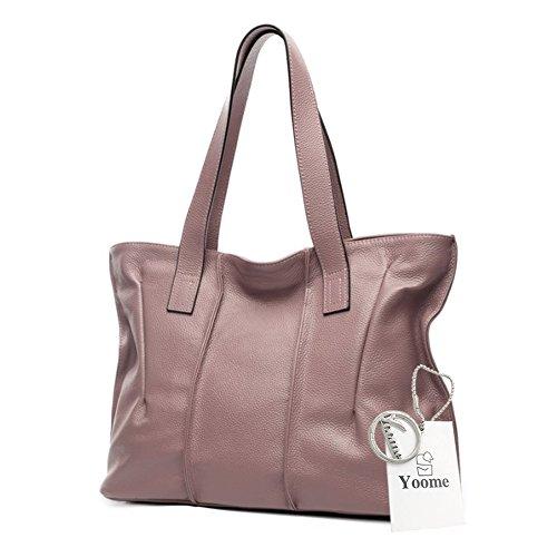 Yoome bolsos de piel de vaca para las mujeres bolsos de cuero real de la manija superior Vintage bolsos elegantes para las mujeres - Beige Rosado