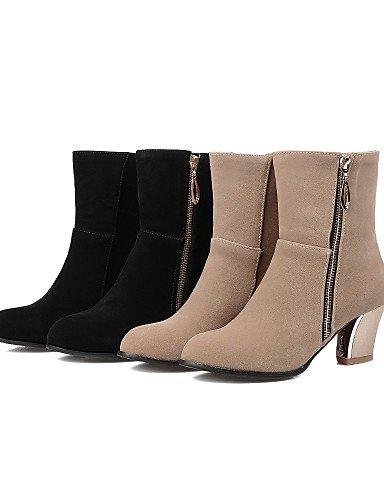 Uk8 Zapatos Eu33 Botas 5 Redonda 5 Vestido Mujer La 5 Cn32 Black Negro us3 Punta Tacón Xzz Eu42 Cn43 A us10 De Uk1 Casual Beige Moda Vellón 5 Robusto Beige R4W0qFxwd