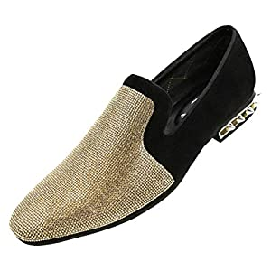Amali Adkin, Men's Slippers – Mens Casual Shoes – Mens Slip On Shoes – Loafers for Men – Embellished Suede, Spiked Heel, Fashion and Designer Rhinestone Shoes