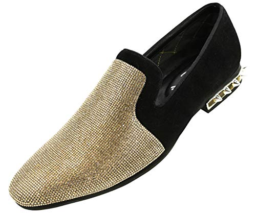 (Amali Men's Rhinestone Embellished Faux Suede Smoking Slipper with Spiked Heel Dress Shoe, Style Adkin)