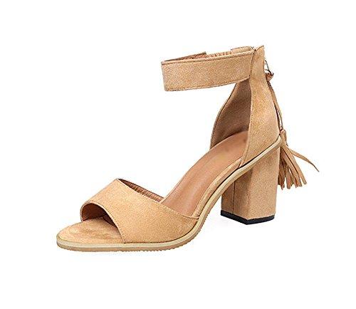 color sólido de la borla de la palabra cabeza de pescado zapatos de la hebilla de las sandalias de la mujer salvaje Khaki