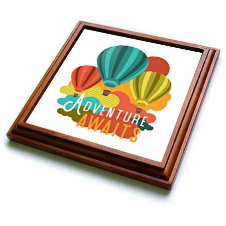 3dRose Janna Salak Designs Text Art - Adventure Awaits Hot Air Ballooning - 8x8 Trivet with 6x6 ceramic tile (trv_283609_1)