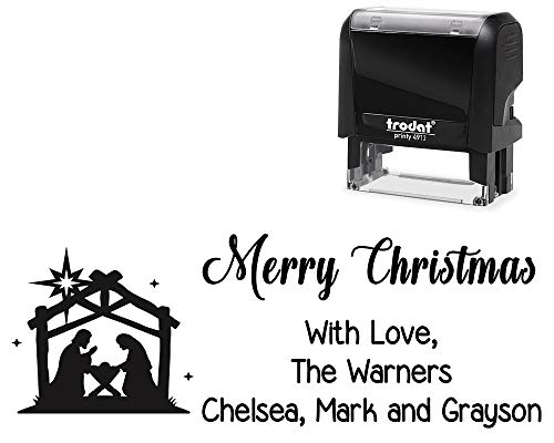 Customized Self-Inking Rubber Stamp, Merry Christmas with Love. with Nativity Scene Image - Large 4 Line DIY Stamper, Change All Wording. Select Different Ink - Nativity Rubber