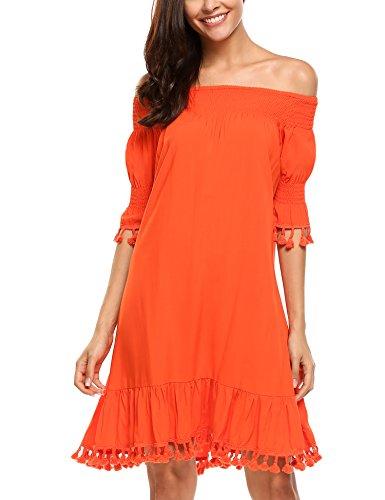 Beyove Women's Solid Off Shoulder Tassel Trims Sleeve Casual Loose Dress,XL