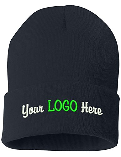 Peerless Beanie Hat With Custom Text Embroidered Your Text Here One Size SP12 (Navy Knit W/Logo, 12) by Peerless Embroidery