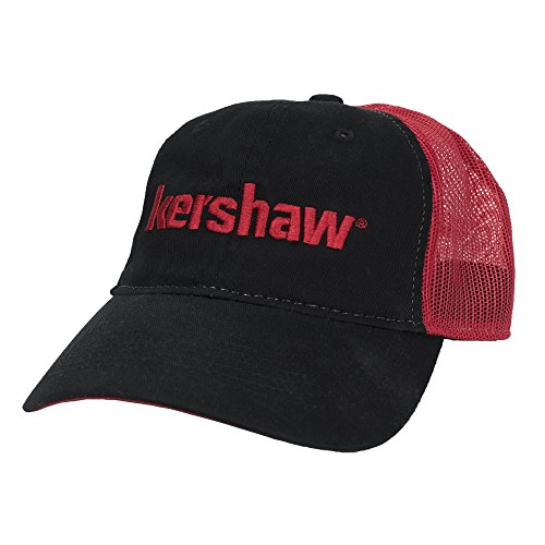 Kershaw Cap 1-Mesh (CapKer181); Breathable, Comfortable, Absorbent, Unstructured Cotton Twill Classic Black Trucker-Style Cap with White Stitching and Red Mesh Back Features an Iconic Red Kershaw Logo