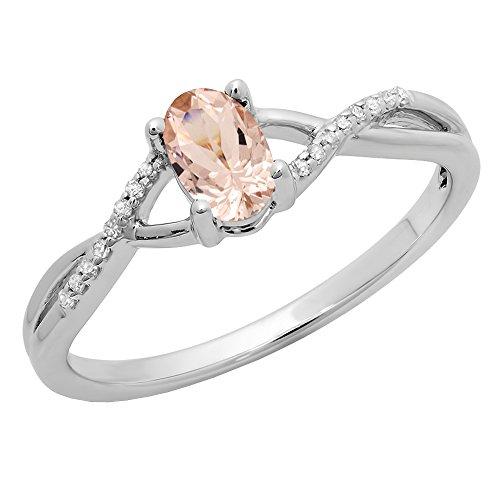 18K White Gold 6X4 MM Morganite & White Diamond Bridal Swirl Engagement...