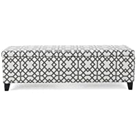 Upholstered Storage Bedroom Bench with Geometric Pattern (Upholstery Color) Gray&White. (Leg Finish) Brown