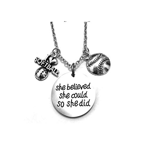 Stainless Steel Sportybella Softball Necklace, Softball Jewelry - She Believed She Could So She Did Pendent -Great Necklace for Player Perfect Softball Player Gifts