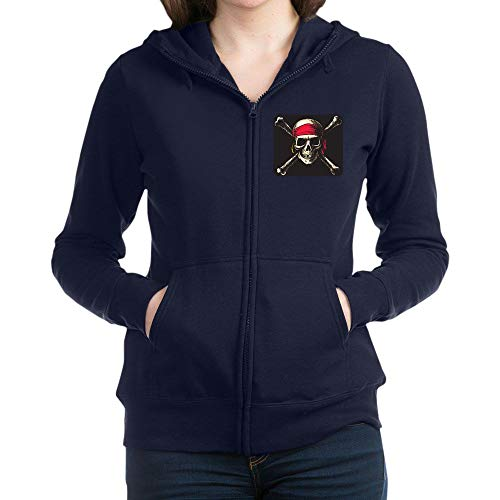 Royal Lion Women's Zip Hoodie (Dark) Pirate Skull Crossbones - Navy, 2X