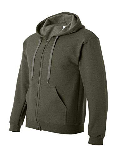 Gildan Heavy Blend Mens Vintage Full Zip Hooded Sweat/Hoodie (XL) (Moss)