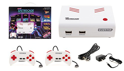 Retro-Bit Super Retro-Cade Plug and Play Game Console - Packed with Over 90 Popular Arcade and Console Titles (Red/White) - Not Machine Specific (Plug And Play Sega Genesis 80 Games)